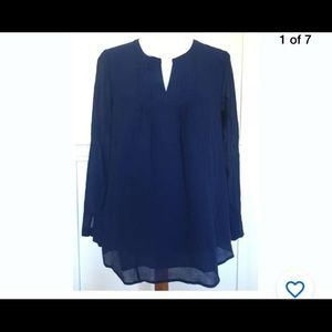 Womens vineyard vines small silk blue shirt top
